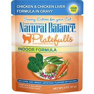 Natural Balance Platefulls Indoor Formula Chicken & Chicken Liver in Gravy Grain-Free Cat Food Pouches, 3-oz pouch, case of 24