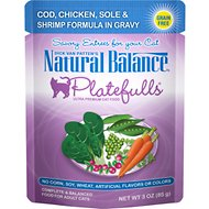 Natural Balance Platefulls Cod, Chicken, Sole & Shrimp Formula in Gravy Grain-Free Cat Food Pouches, 3-oz pouch, case of 24