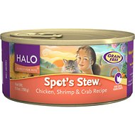 Halo Spot's Stew Wholesome Chicken, Shrimp & Crab Recipe Grain-Free Canned Cat Food, 5.5-oz, case of 12