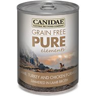 Canidae Grain-Free PURE Elements Lamb, Turkey & Chicken Formula Canned Dog Food, 13-oz, case of 12