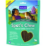 Halo Spot's Chew Mint Flavor Natural Edible Dental Dog Treats, 7.2-oz bag, 7 chews