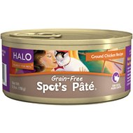 Halo Spot's Pate Ground Chicken Recipe Grain-Free Canned Cat Food, 5.5-oz, case of 12
