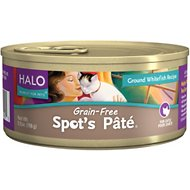 Halo Spot's Pate Ground Whitefish Recipe Grain-Free Canned Cat Food, 5.5-oz, case of 12