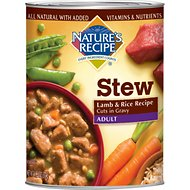 Nature's Recipe Adult Lamb & Rice Recipe Cuts in Gravy Stew Canned Dog Food, 13.2-oz, case of 12