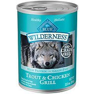 Blue Buffalo Wilderness Trout & Chicken Grill Grain-Free Canned Dog Food, 12.5-oz, case of 12