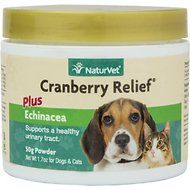 NaturVet Cranberry Relief Urinary Support Dog & Cat Powder Supplement, 50g container, 90 scoops