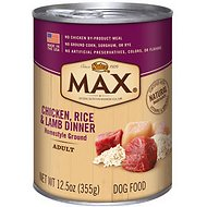 Nutro Max Adult Chicken, Rice & Lamb Dinner Canned Dog Food, 12.5-oz, case of 12