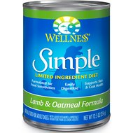 Wellness Simple Limited Ingredient Diet Lamb & Oatmeal Formula Canned Dog Food, 12.5-oz, case of 12