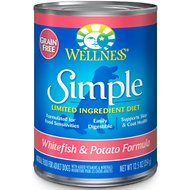 Wellness Simple Limited Ingredient Diet Grain-Free Whitefish & Potato Formula Canned Dog Food, 12.5-oz, case of 12