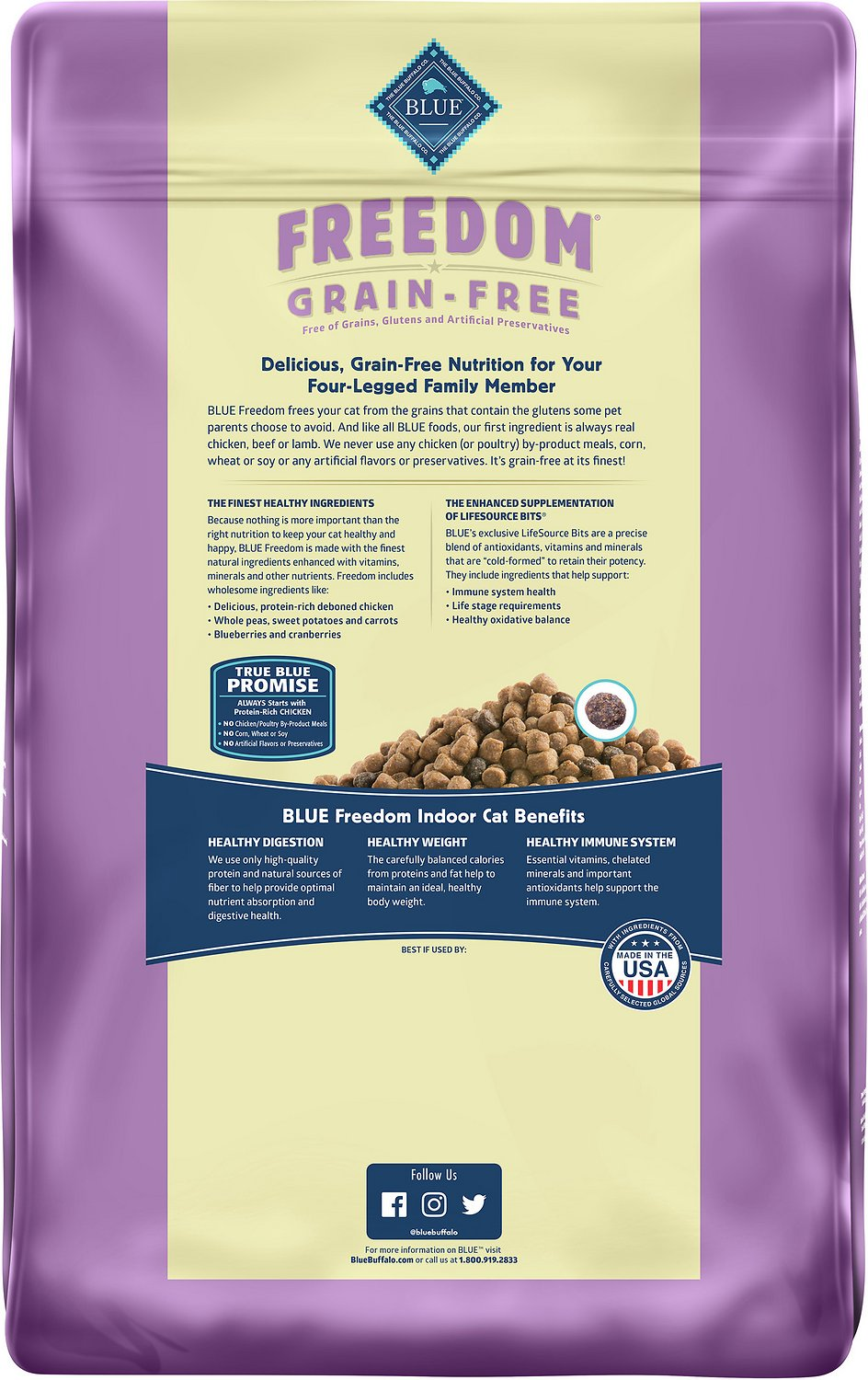 blue buffalo freedom indoor adult chicken recipe grain free dry cat food