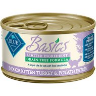 Blue Buffalo Basics Limited Ingredient Grain-Free Indoor Kitten Turkey & Potato Entree Canned Cat Food, 3-oz, case of 24