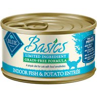 Blue Buffalo Basics Limited Ingredient Grain-Free Indoor Fish & Potato Entree Adult Canned Cat Food, 3-oz, case of 24
