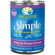 Wellness Simple Limited Ingredient Diet Grain-Free Turkey & Potato Formula Canned Dog Food, 12.5-oz, case of 12