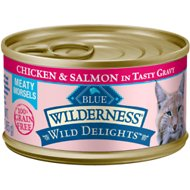 Blue Buffalo Wilderness Wild Delights Chicken & Salmon in Tasty Gravy Grain-Free Canned Cat Food, 3-oz, case of 24