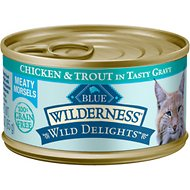 Blue Buffalo Wilderness Wild Delights Chicken & Trout in Tasty Gravy Grain-Free Canned Cat Food, 3-oz, case of 24