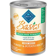 Blue Buffalo Basics Limited Ingredient Grain-Free Turkey & Potato Recipe Large Breed Canned Dog Food, 12.5-oz, case of 12