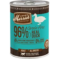 Merrick Grain-Free 96% Real Duck Canned Dog Food, 13.2-oz, case of 12