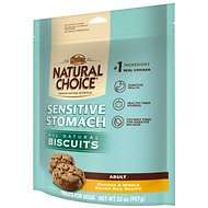 Nutro Sensitive Stomach Biscuits Adult Chicken & Whole Brown Rice Recipe Dog Treats, 32-oz bag