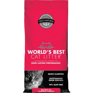 World's Best Multi-Cat Unscented Clumping Corn Cat Litter, 28-lb bag