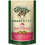 Greenies Feline SmartBites Healthy Skin & Fur Salmon Flavor Cat Treats, 2.1-oz bag