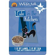 Weruva Cats in the Kitchen 1 If By Land, 2 If By Sea Tuna, Beef & Salmon in Gravy Recipe Cat Food Pouches, 3-oz, case of 8