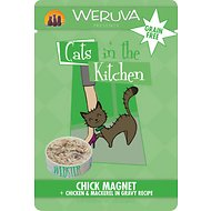 Weruva Cats in the Kitchen Chick Magnet Chicken & Mackerel in Gravy Recipe Grain-Free Cat Food Pouches, 3-oz, case of 8
