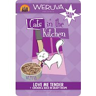 Weruva Cats in the Kitchen Love Me Tender Chicken & Duck in Gravy Recipe Grain-Free Cat Food Pouches, 3-oz, case of 8