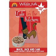 Weruva Cats in the Kitchen Mack, Jack & Sam Salmon, Mackerel & Skip Jack Tuna in Gravy Recipe Grain-Free Cat Food Pouches, 3-oz, case of 8
