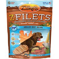Zuke's Z-Filets Grilled Beef Recipe Grain-Free Dog Treats, 7.5-oz