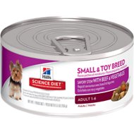 Hill's Science Diet Small & Toy Adult Savory Stew with Beef & Vegetables Canned Dog Food, 5.5-oz, case of 24
