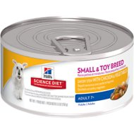 Hill's Science Diet Small & Toy Adult 7+ Savory Stew with Chicken & Vegetables Canned Dog Food, 5.5-oz, case of 24