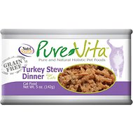 PureVita Grain-Free Turkey Stew Dinner Canned Cat Food, 5-oz, case of 12