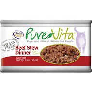 PureVita Grain-Free Beef Stew Dinner Canned Cat Food, 5-oz, case of 12