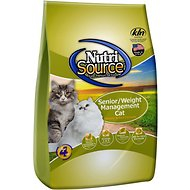 NutriSource Senior/Weight Management Chicken & Rice Formula Dry Cat Food, 16-lb bag
