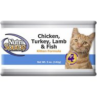 NutriSource Kitten Chicken, Turkey, Lamb, & Fish Formula Canned Cat Food, 5-oz, case of 12