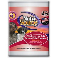 NutriSource Chicken, Lamb & Ocean Fish Formula Canned Dog Food, 13-oz, case of 12