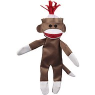 JW Pet Crackle Heads Canvas Sock Monkey Dog Toy, Medium
