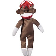 JW Pet Crackle Heads Canvas Sock Monkey Dog Toy, Large