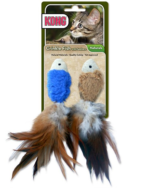 Kong crinkle fish cat toy color varies for Fish cat toy
