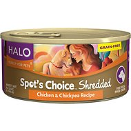 Halo Spot's Choice Shredded Chicken & Chickpea Grain-Free Canned Dog Food, 5.5-oz, case of 12