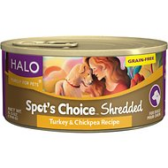 Halo Spot's Choice Shredded Turkey & Chickpea Grain-Free Canned Dog Food, 5.5-oz, case of 12