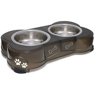 Loving Pets Dolce Double Diner Pet Dish, Espresso, 14-oz bowl