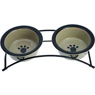 PetRageous Designs Buddy's Best Double Diner Elevated Pet Bowls, Taupe