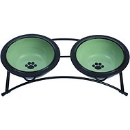 PetRageous Designs Buddy's Best Double Diner Elevated Pet Bowls, Sage