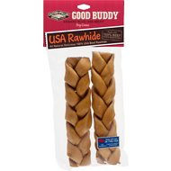 "Castor & Pollux Good Buddy USA Rawhide Braids Dog Treats, 2 x 7"" braids"