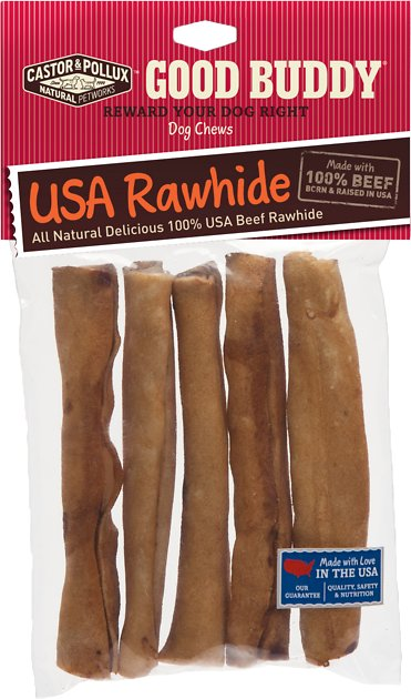 castor pollux good buddy usa rawhide sticks dog treats 5 inch 5 pack. Black Bedroom Furniture Sets. Home Design Ideas