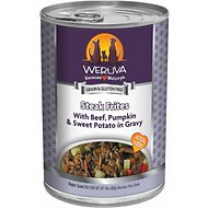 Weruva Steak Frites with Beef, Pumpkin & Sweet Potatoes in Gravy Canned Dog Food, 14-oz, case of 12