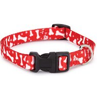 Casual Canine Pooch Pattern Dog Collar, Red Bone, Medium