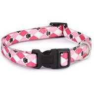 Casual Canine Pooch Pattern Dog Collar, Pink Argyle, Medium