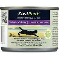 ZiwiPeak Daily-Cat Cuisine Rabbit & Lamb Grain-Free Canned Cat Food, 6-oz, case of 12